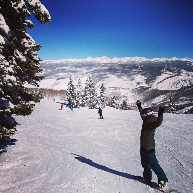 Celebrating the snow!! #beavercreek #snowboard #bluebird #snow