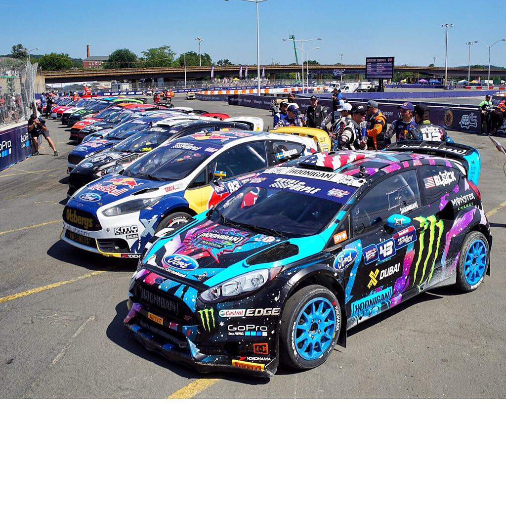 Check out this lineup of fire breathing AWD racecars (Supercars and Lites) from yesterday's opening ceremonies - aka the calm before the #GlobalRallycross storm - in Washington DC. #FordFiesta #allcleanbutnotforlong