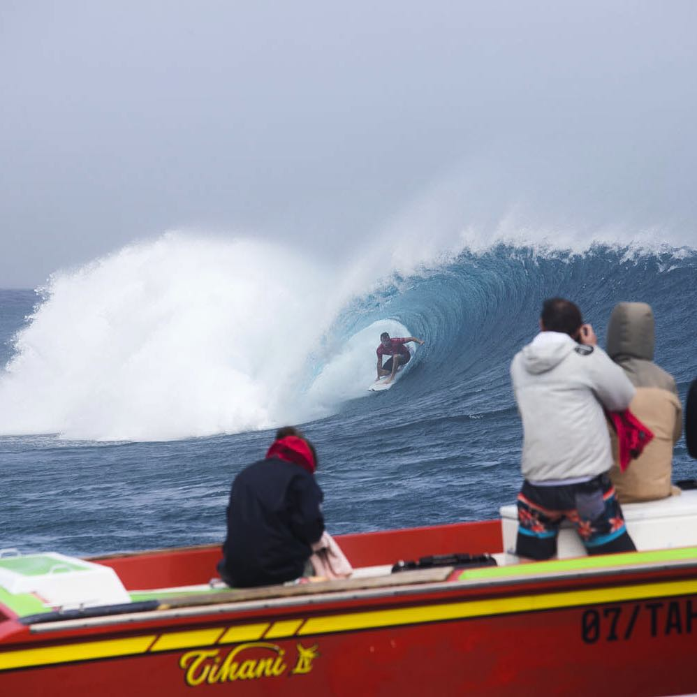 @tajamos earlier today enjoying the moment at Teahupoo. @wsl #BillabongProTahiti