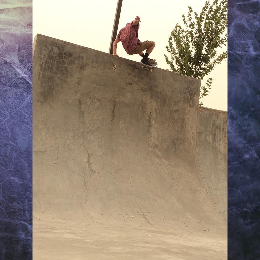 @jimmywesterson Laid back rock in Pendleton, Oregon. The sky is blocked out by ash and dust from surrounding fires, he couldn't skate here too long. It was way smokey.