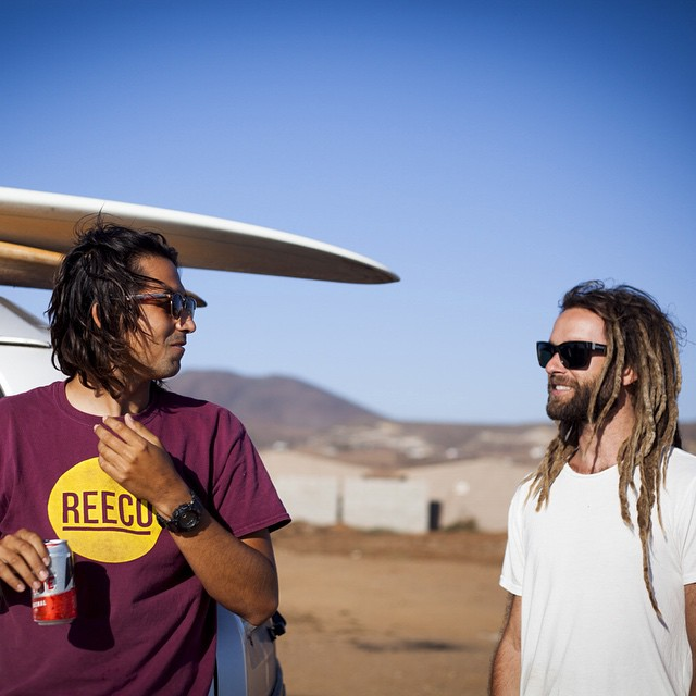 ~ Nomadic Baja ~  @reecosurfboards and @to_the_sea8 rapping about trip stuff.  One of the toughest things about a quickie trip like this is leaving. Thankfully the memories will last... Long dirt roads, mistaken menu translations, unbelievable night...