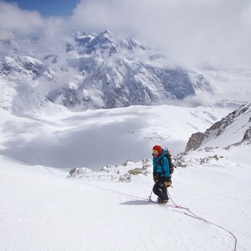 Keeping cool with ASCSnowandIce adventurer Hollie Leonard, as she climbs above 14k camp on Mount Denali.  Thanks to David Leonard (@davealeonard) for this #MountainCrushMonday escape.  #MountDenali #MtDenali #Alaska #AlaskaRange...