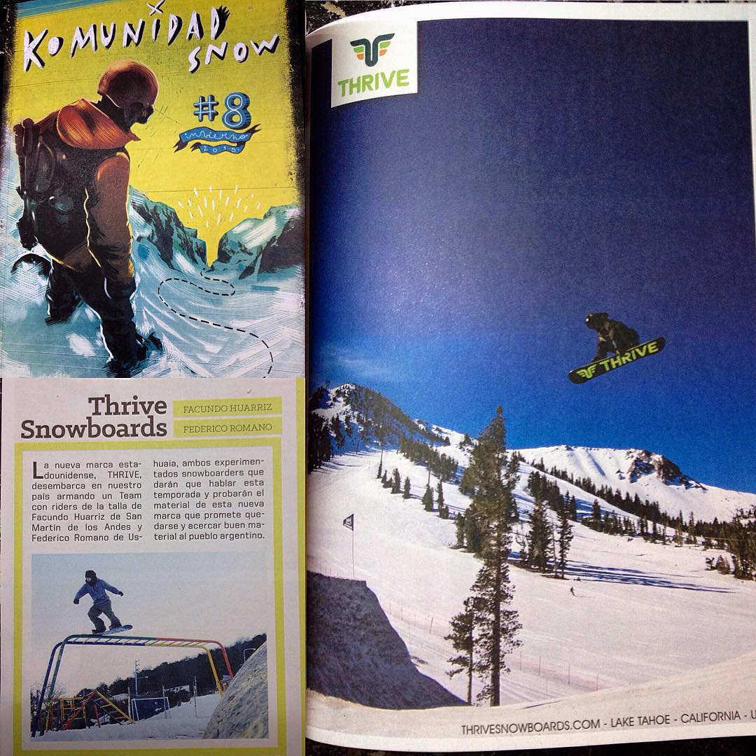 Thrive featured in @komunidadsnow #magazine #argentina #thrivesnowboards @federomanoo @juanpib