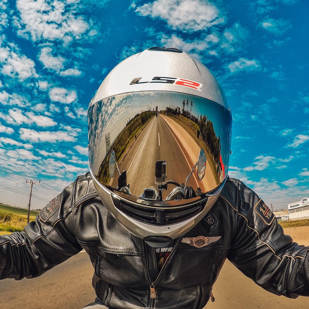 Photo of the Day! Blue skies and an open road make for a beautiful ride. Image via @galeu. Share your best rides with us by clicking on the link in our profile. #GoPro #Motorcycle