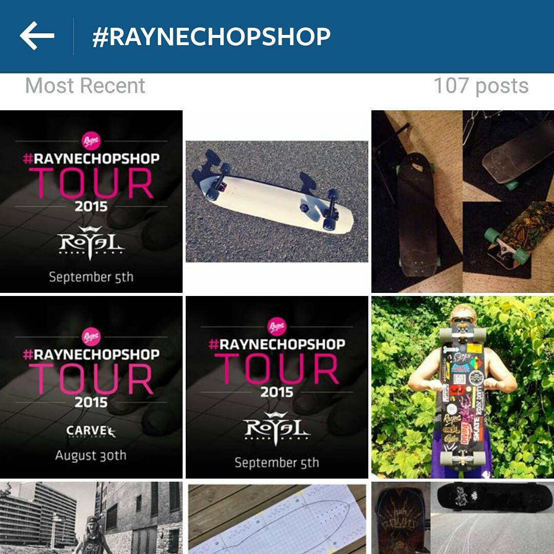 Tour information, rad shapes, contest details and so much more amazing stuff in the #raynechopshop hashtag.  Hit it up and tag your chops for a chance to win $300 and a complete template!