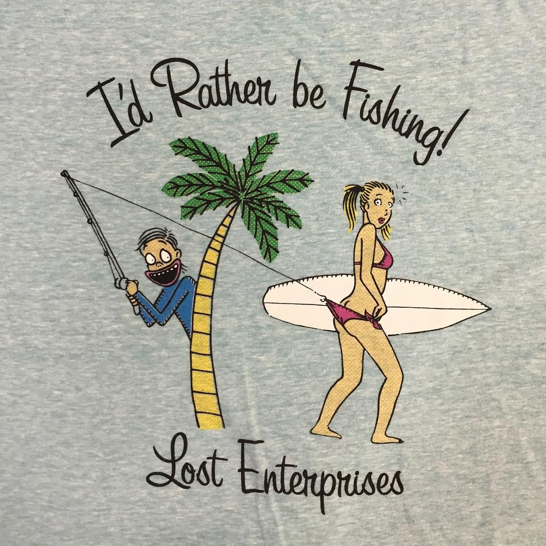 "New ...Lost ""I'd Rather Be Fishing"" tee. Available @7thstreetsurfshop @avalonsurf @bravesurf @catalystcb @elspotsurfshop @hanaleisurfco @hanger94 @hobiesurfshop @islandshopirb @jackssurfboards @lbsurf @heritagesurfmgt @catalystmb @mollybrownsswim..."