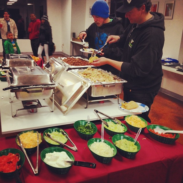El Toro Bravo Tacos at the Thrive Holiday Party! #tacos #holidayparty #snowboarders #truckee