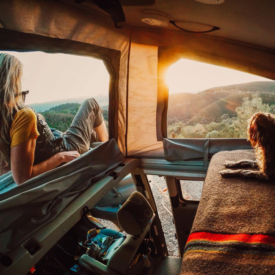 @alisontravels and her pup Max enjoy the beautiful California sunset. Share how you end your Monday with us by clicking the link in our profile. #GoProTravel #Sunset