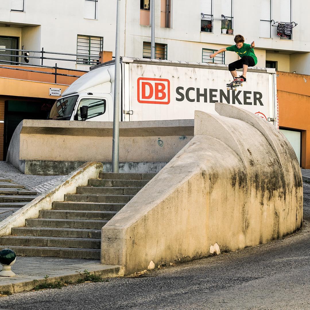 @tfunkb into a sketchy roll away in Lisbon, Portugal. Photo: @blabacphoto #TFunk #DCShoes