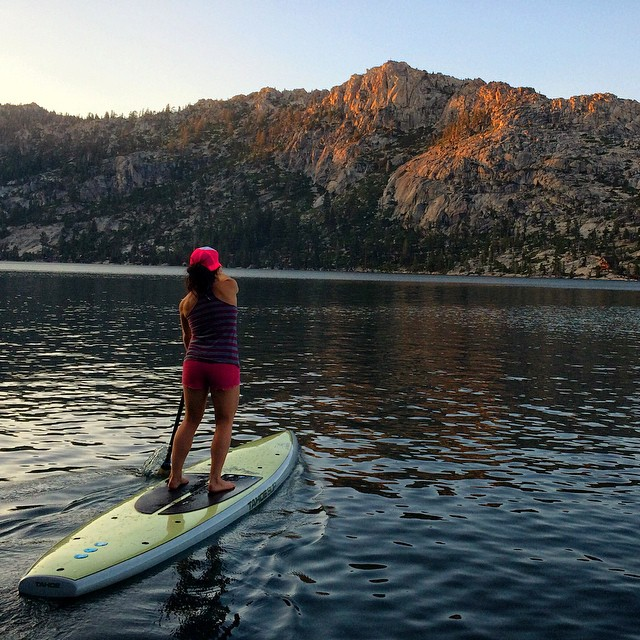 Decompression after a long day of work out at #echolakes is where it's at. The sunset was radiant gold, today I am thankful. Stoked to share this radical evening with @joshdaiek , thanks for the pic:) #lifeisgood #thankfulforanotherday @tahoesup...