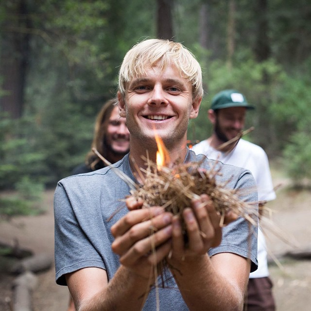 @madarsapse relishes in the glory of making Friction Fire in our @elementalawareness wilderness program at @elementskatecamp >>> Photo: @wizardstatus #elementalawareness #madarsapse