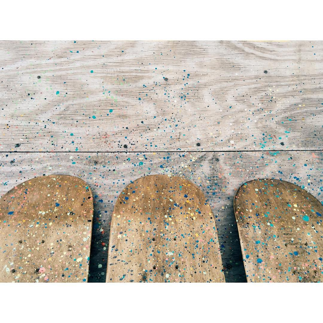 Doin some paint splatter this afternoon. Things got a little messy. #handmade #handmadeskateboard #nashville #skate