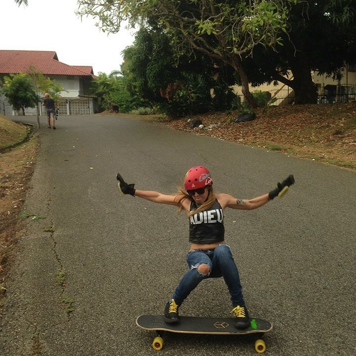 @longboardgirlscrewpma​ ambassador @ginamendez88. This, is a power slide.  Photo credit?  #longboardgirlscrew #womensupportingwomen #girlswhoshred #skatelikeagirl #ginamendez #lgcpanama #panama