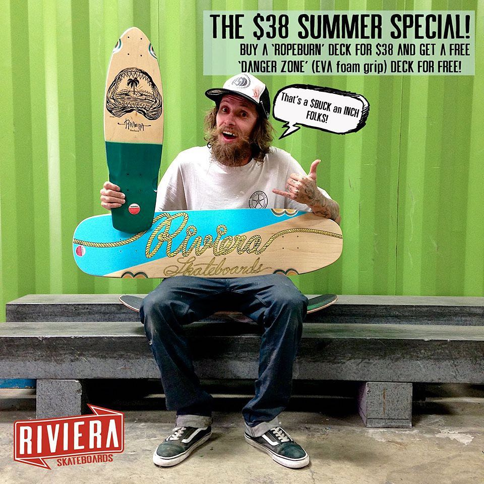 "Team rider @gnarlivin and our friends at @skateriviera want you to enjoy the hottest deal of the summer - if you pick up one of their 38"" Ropeburn decks for $38 (a great deal on its own!), they'll throw in a Danger Zone mini deck for FREE!  That's..."