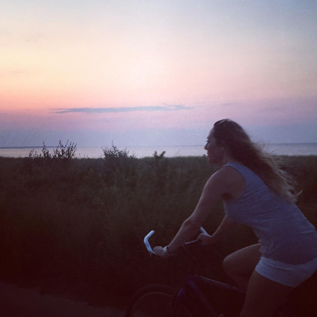 #sunset bike ride with #MyLady #JustSendIt #bicycle #MTK #beach #surf #montauk #surfing #surflikeagirl #bike @kateemcneil