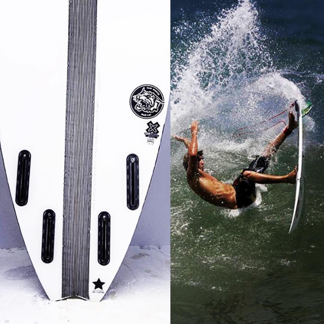 "Something about this new #MadCat model that the crew at @super_brand made for @_clay_marzo caught our eye! --- But we can't decide which is cooler looking: the arc of water spray coming off the tail from the #clayback , or the #ECOBOARDproject ""x-logo""..."