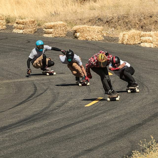 Rounding corners on #Crucibles, @_ricker_, @jimmywesterson, @_morganowens_ncmb, and @the_papa_les took some fun runs together at the #MaryhillFreeride. Killer shot courtesy of @nwestmedia. #divinewheelco #divinewheels