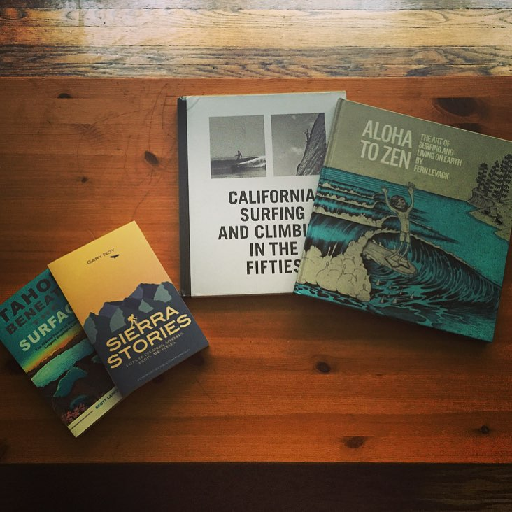 New additions to the rachshredgnar reading list #readingrainbow #inspire #books #outdoor #adventure #tahoe #surfing #climbing #yosemite