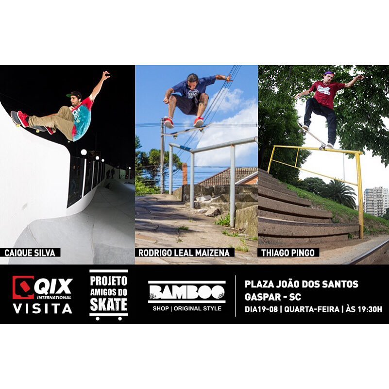 Nesta quarta-feira (19), a #QIX visita o Projeto Amigos do Skate em Gaspar - SC a partir das 19h30. Presença confirmada dos profissionais @caiquesilvaskt @rodrigoleal e @thiagopingo. Saiba mais em: www.qix.com.br