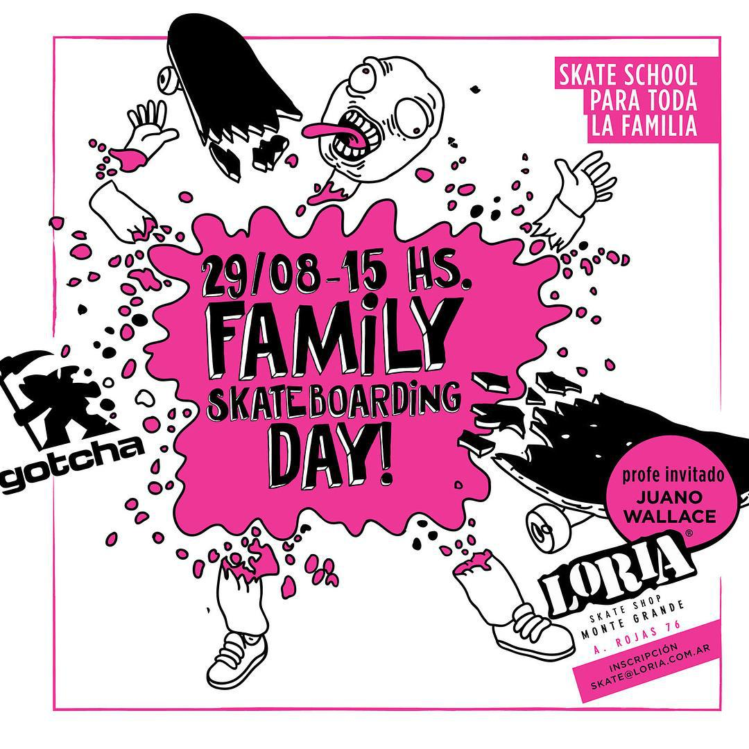 Estamos muy contentos de anunciarles que el dia 29/8 estaremos relizando ,junto a la Crew de Loria y el gran Juano Wallace, un dia de clases de skate para toda la familia.  Vamos a ver cuantos de los mas grandes se animan a aprender con los mas chicos!...
