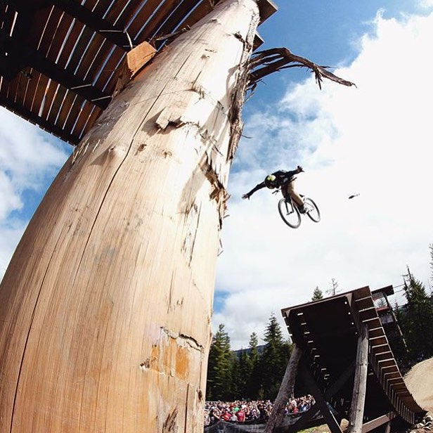 And here's one last shot from Crankworx! |  #Reposf @nicholirogatkin | Frontflip no hander onto the cabin. Quickest one I've ever done. #Joyride #YeahWhis