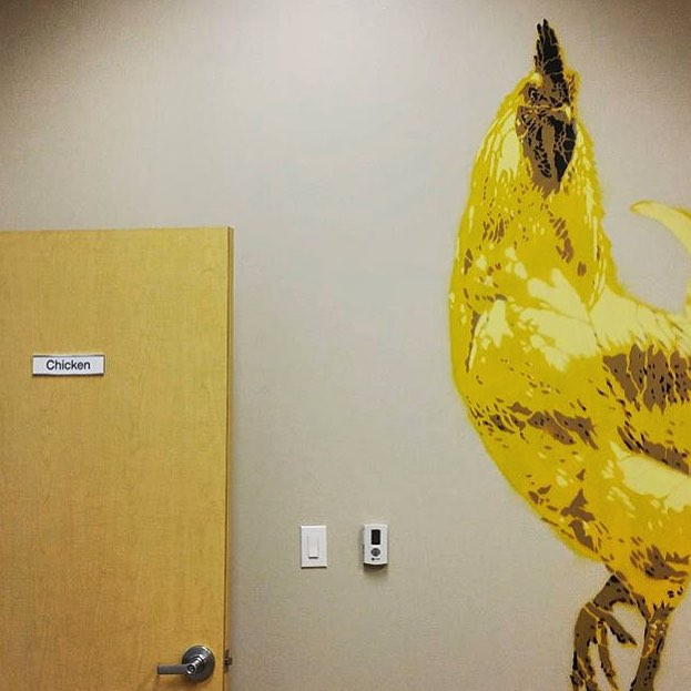 @davelowell making the office space of Alchemy Systems a little more fun! • • #atx #austintx #texas #tx #spratx #alchemysystems #davelowell #bigchicken