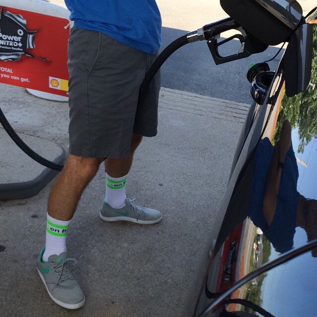 Nothing to see here, just fueling up the #car. #grabapair #gasstation #brolife #sockgame #college #wearebright