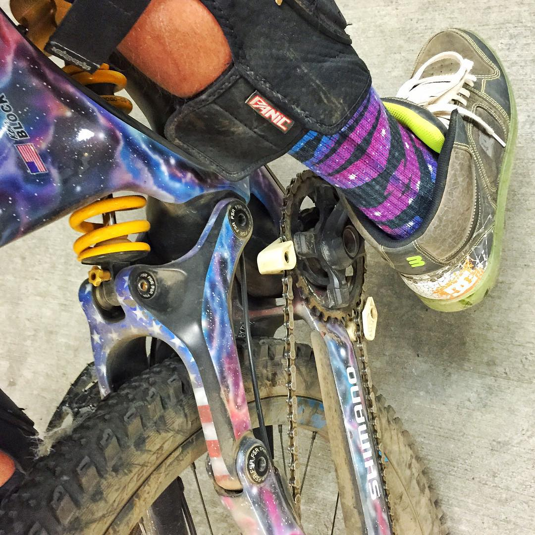 My socks match my bike. #NBD. Thanks to @IamSpecialized and @TheHoonigans for making me such amazing stuff based on my Ford Fiesta racecar livery! #intergalaticfashionsteez