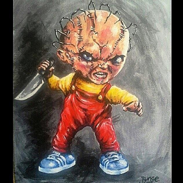 "@bigbunceart • • ""chucky griffin"" • • #atx #austintx #texas #tx #bunce #spratx #art #horror #mashup"