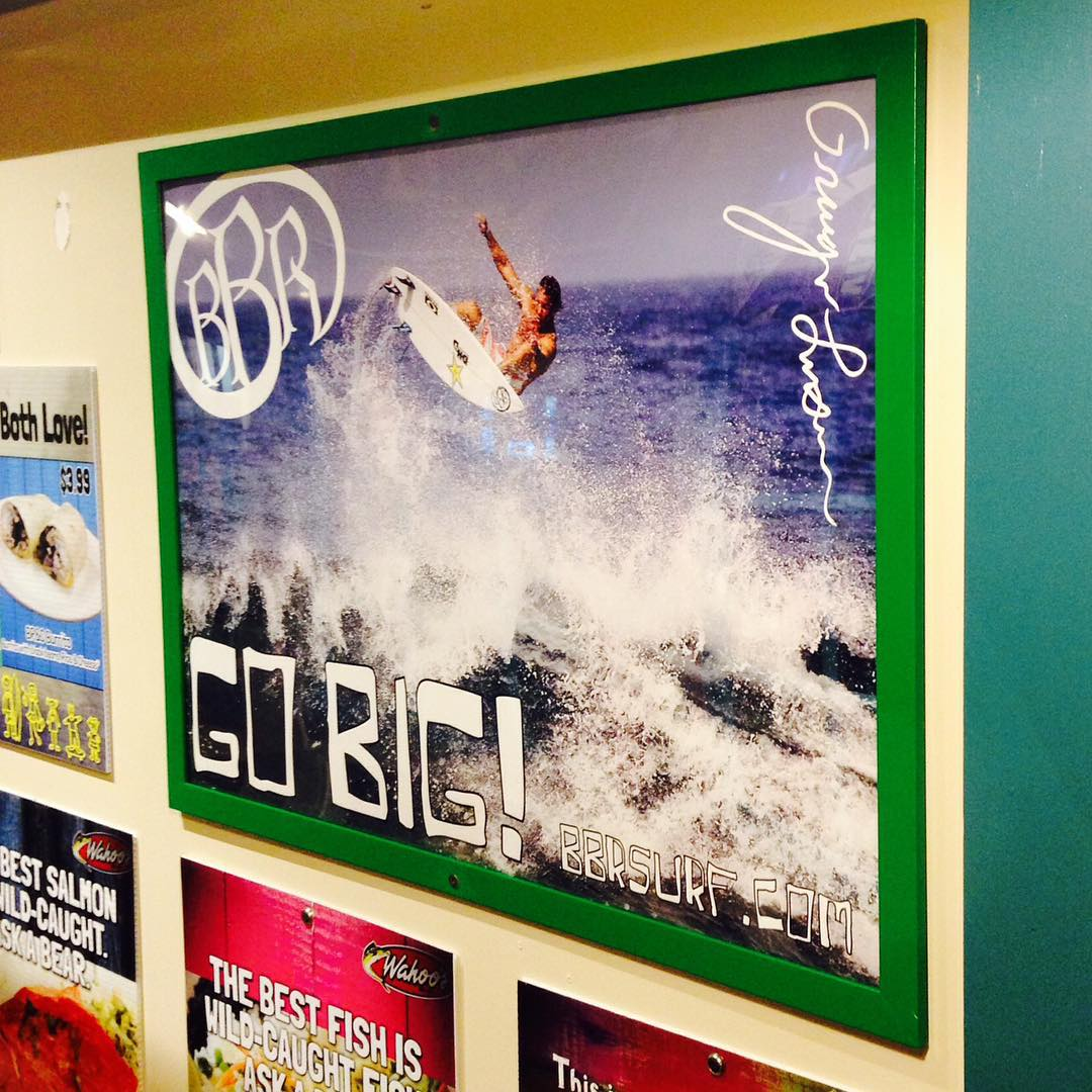 The first one is up at Wahoos Fish Taco at the South Coast Plaza location. Thank you so much for the support Wing Lam, Ed Lee, and Ron Camero.  #bbr #bbrsurf #bbrsurfwear #buccaneerboardriders #wahoos #wahoosfishtaco #winglam #edlee #roncamero...