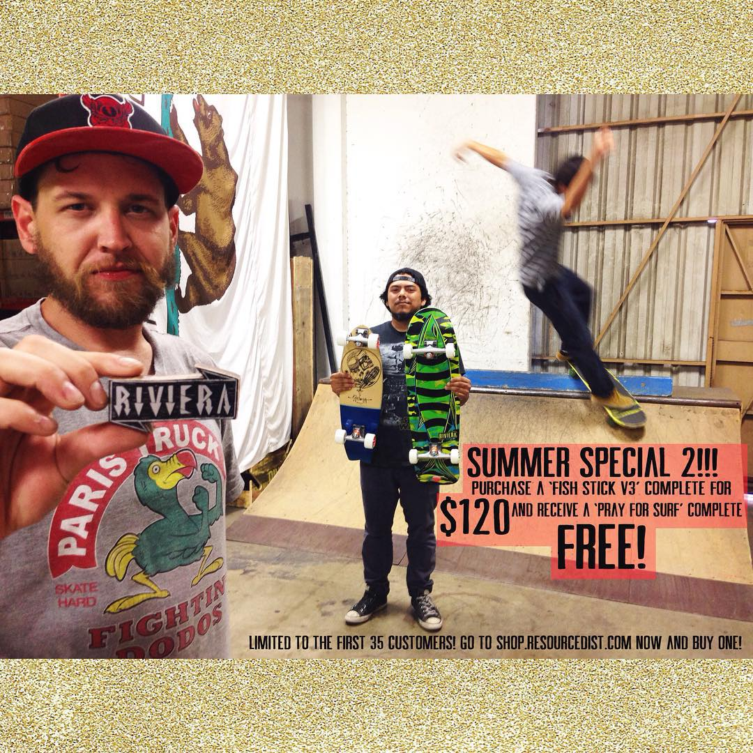 Just when you thought your Summer fun was over // BAM! Here's our SUMMER SPECIAL 2!!! Purchase a 'Fish Stick V3' complete for $120 and get a 'Pray For Surf' complete for FREE! Both boards come complete with @paristruckco street trucks and...