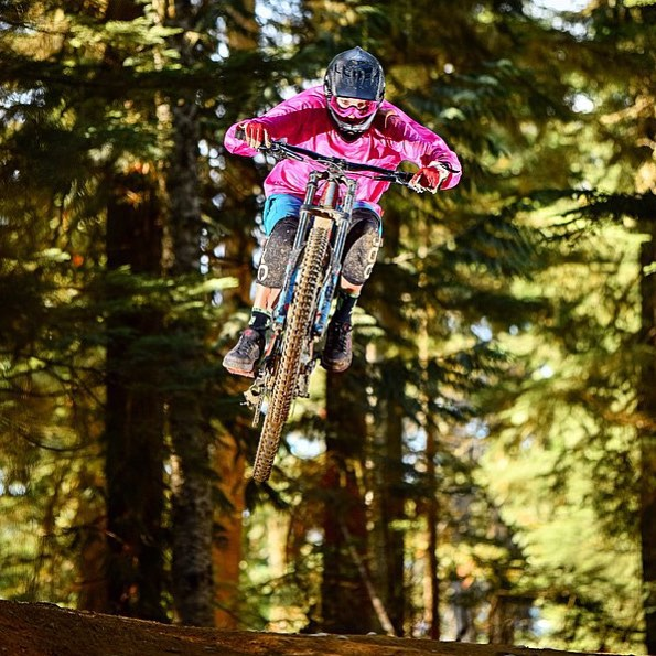 Flylow's @lucysack 'flyinlow?' in the @whistlerbikeprk. #prettyinpink #pedalfaster #dhlaps  #embracethestorm | #flylowgear