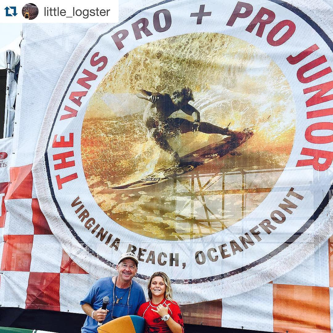 SO stoked on Luv Surf's @little_logster winning all three of her heats at the #vanspro and pro junior in VA Beach yesterday!