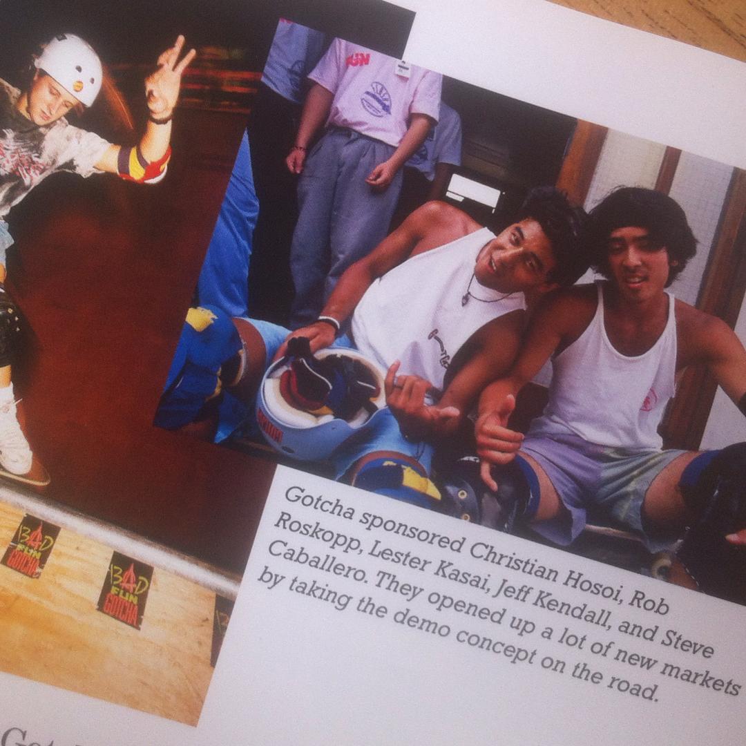 "1988 #Gotcha sponsoreando a Christian Hosoi, Lester Kasai, Jeff Kendall y Steve Caballero. En este tour se inauguraron  varios locales y se llevo el concepto de ""demo"" a la ruta. #Skateboarding #Aval"