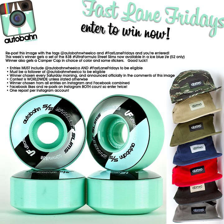 Re-post this image with the tags @autobahnwheelco and #FastLaneFridays and you're entered! This week's winner gets a set of any of the Street Slims (multiple sizes, 101A or 83B) Winner also gets a Camper Cap in choice of color and some stickers. Good...