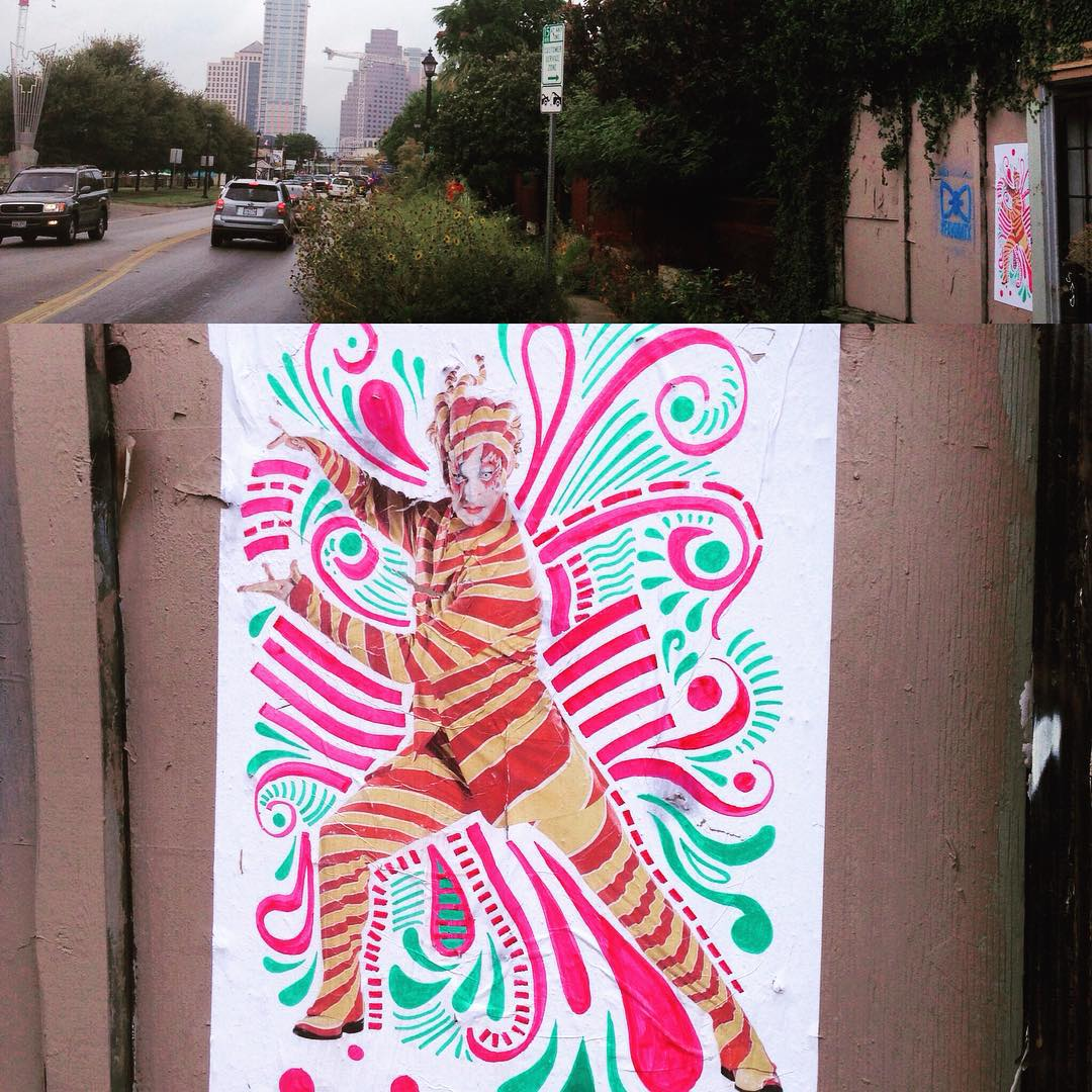 """Last one out! If you live the """"Good Life"""" you will find the Trickster! • • Remember to post a pic of you beside the poster with """"Found the Trickster"""" #KOOZA #atxfreeartfriday • • You can get as many pictures with these posters as you want to raise your..."""