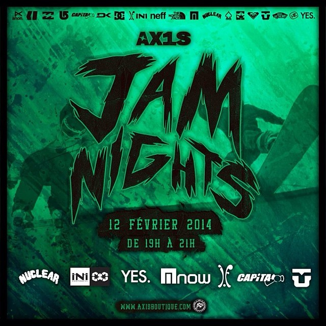 Jam nights going down tonight courtesy of @axisboutique . If your in the Montreal area, come out for some fun! With @capitasupercorp @ifound__ @yes_snowboards @nowbindings @axistremblant @willis66