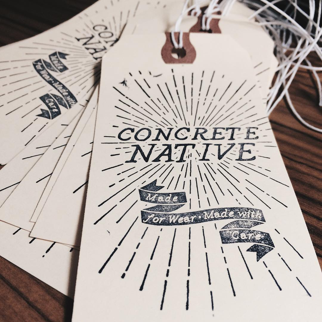 Hand stamping our new hang tags over here at Concrete Native HQ for some exclusive new products. Stay tuned for more details! #concretenative #handmade #madeforwear #madewithcare #midwestmade #skatelife #sk8life