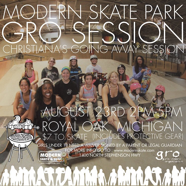 Sadly this coming Sunday, August 23rd at @modernskate will be @christianasmith last Michigan GRO session before she moves