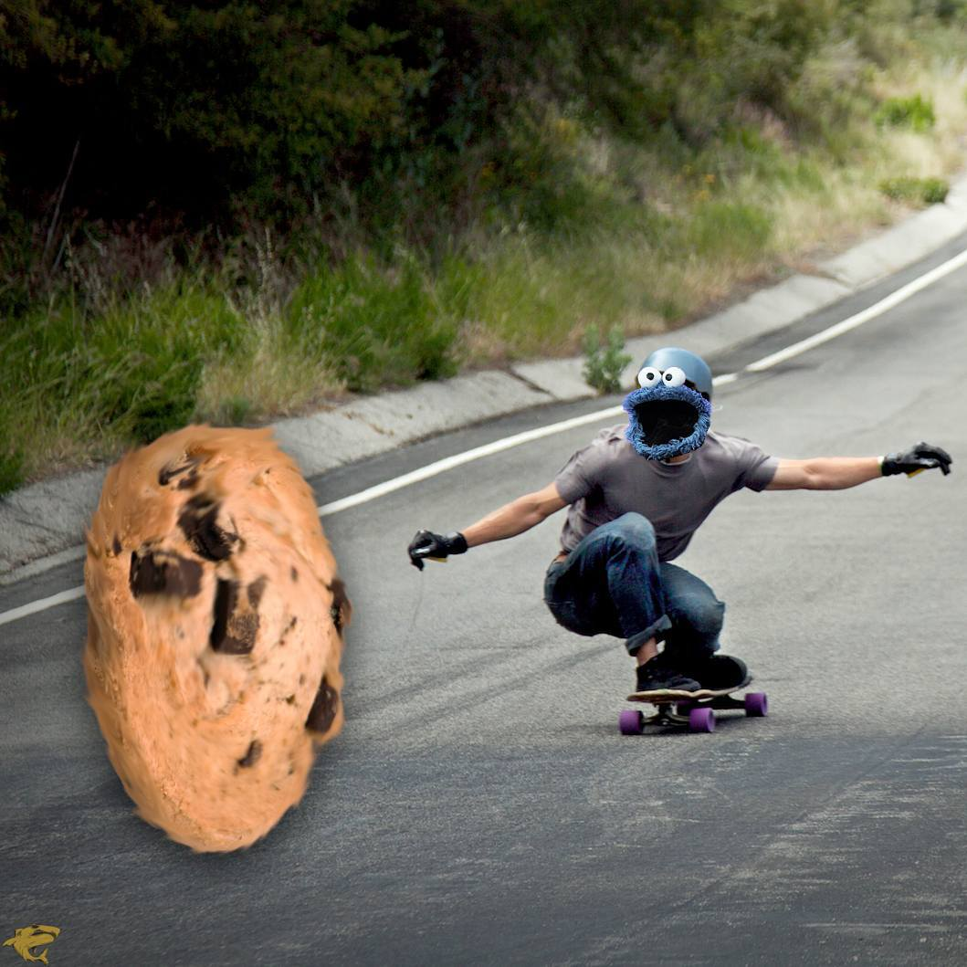 So you're on your skateboard, minding your own business.  Looking a flowers and trying to not get stung by bees and stuff.  Then you hear a rumble.  NO! A CRUMBLE!  Before you realize it, you're racing down a hill, eyes tearing up, sweat dripping,...
