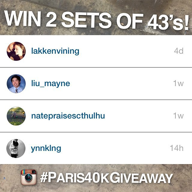 And the #Paris40kGiveaway winners have been chosen! @lakkenvining, @liu_mayne, @natepraisescthulhu and @ynnklng are each getting 2 sets of their favorite color 43-deg #paristrucks! We want to send out a HUGE thanks to everyone who participated, and if...
