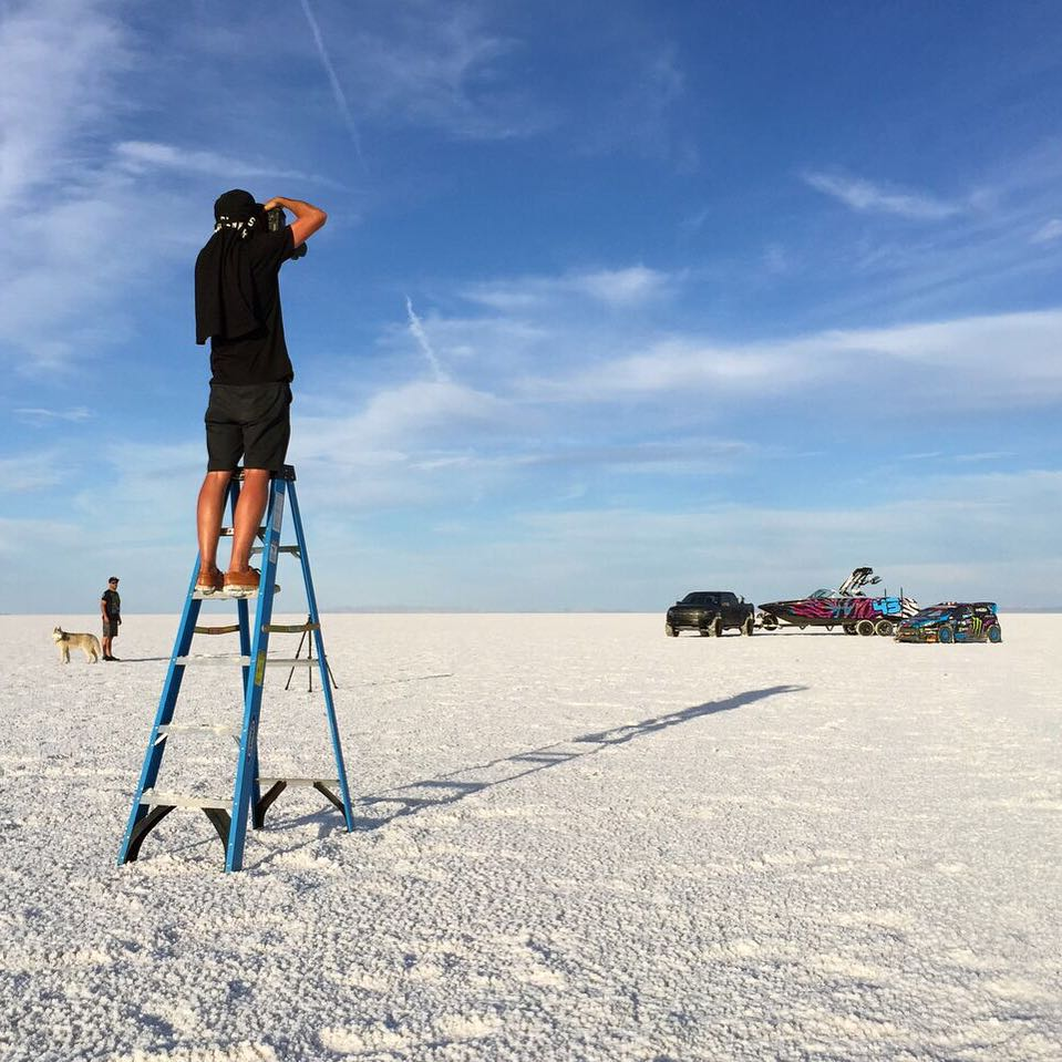 Behind-the-scenes flick of @roncar getting high on the job. You know, so he could get that shot of my new one-off @MCboatcompany X30 boat. With a ladder. Ha. It's always fun shooting out at the Bonneville Salt Flats, it's such an epic place....