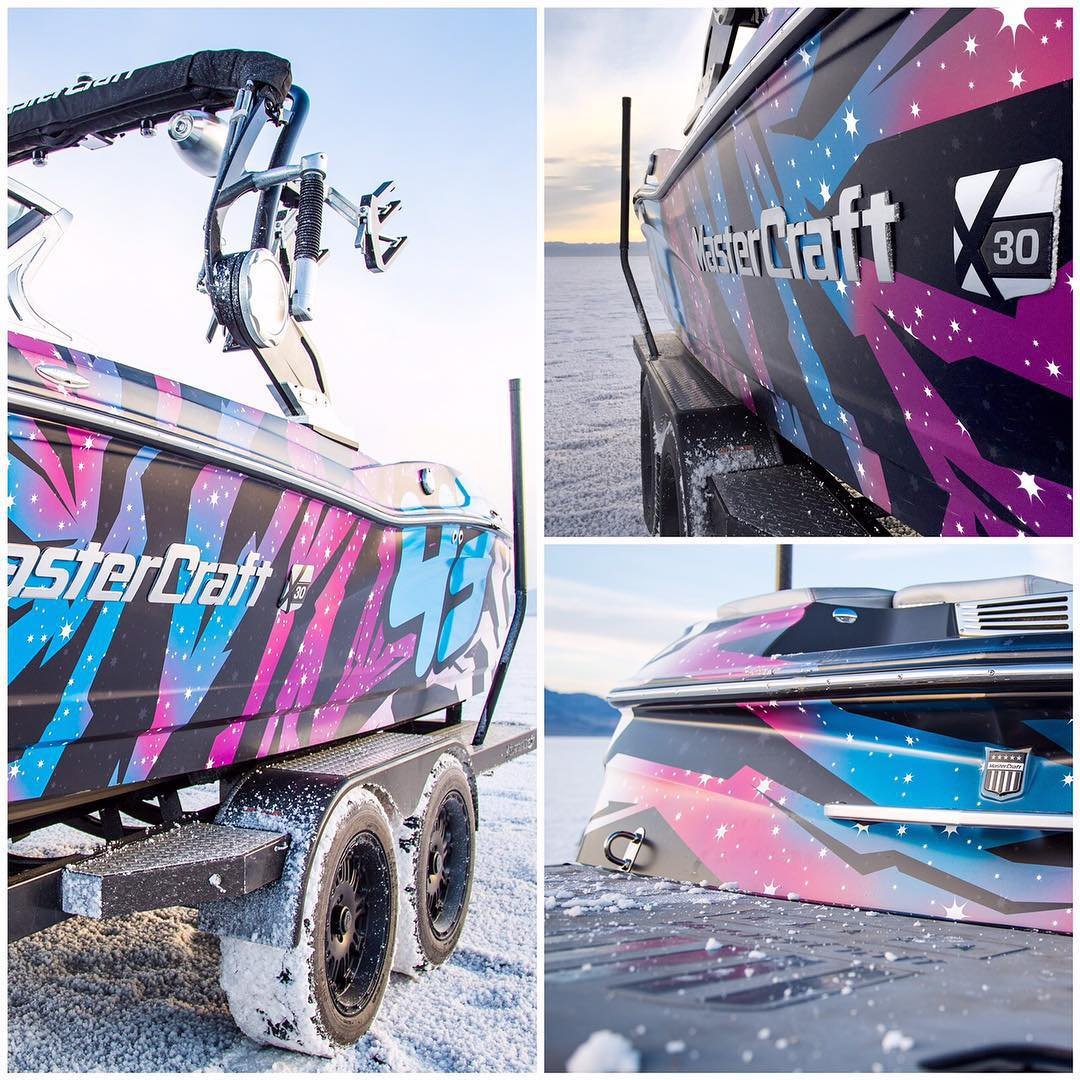 @MCboatcompany absolutely killed it on their execution of my 2015 intergalactic livery on this one-off X30 wakeboarding boat. Pretty rad to have the boat match my racecar - and to see the livery on something this big. #mastercraft2015 #detailsdetails