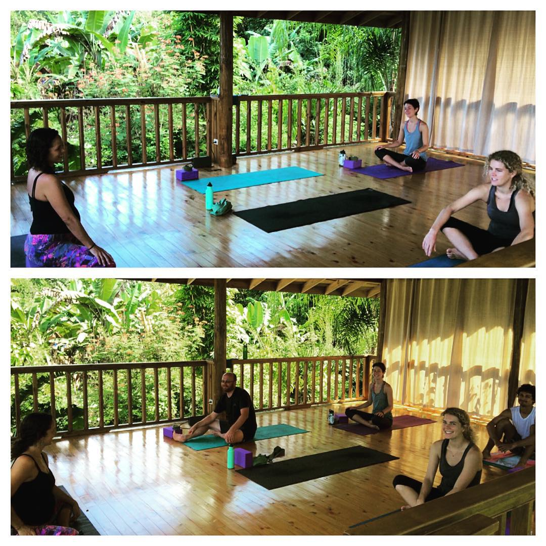 Before and after Saturday morning yoga. Everyone looks a little more relaxed and ready to start the weekend off right!