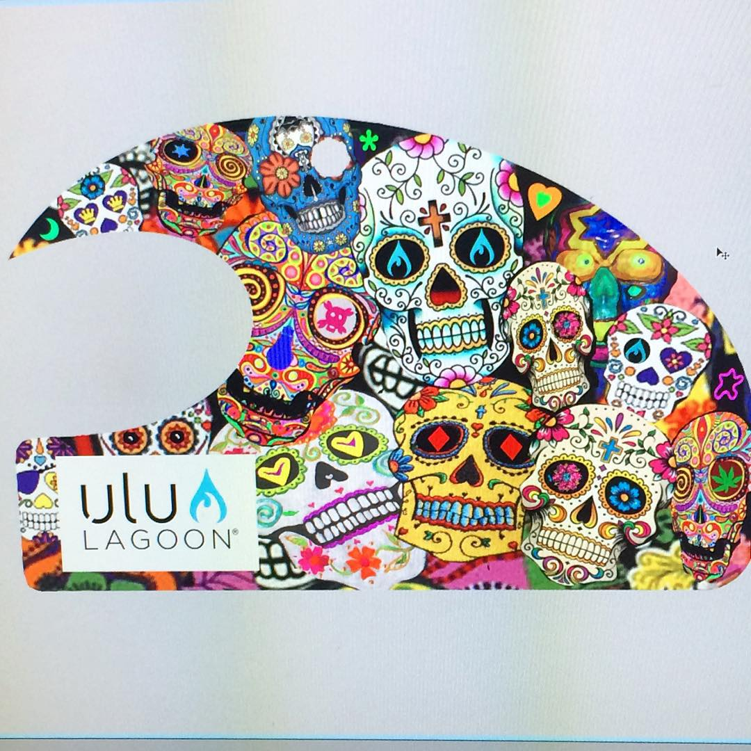 "Rendering of the New ""Day of the Dead"" wave that will be haunting surf shops and www.ululagoon.com very soon! #uluLAGOON #DODwave #dayofthedead #miniwave #innovatorsandcreators #surf #wax #airfresheners #original"