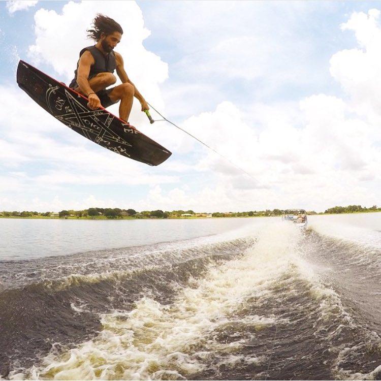 T-Bash still rides the OG ChrisO Pro behind the boat