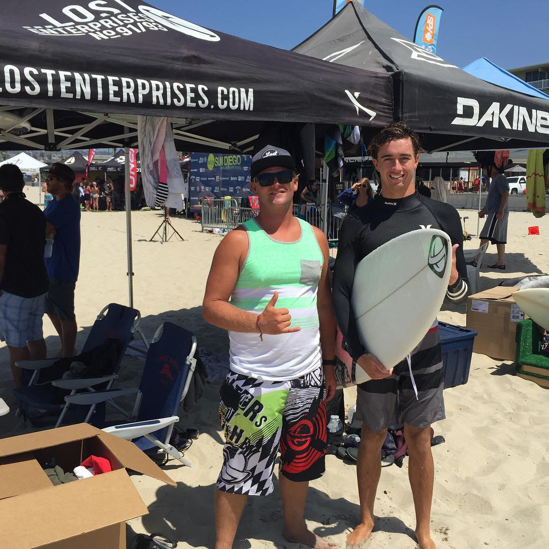 @matt_kinger_king & @boy_beres holding down the ...Lost tent at the @sundiegoboardshops #AmSlam event in Pacific Beach.