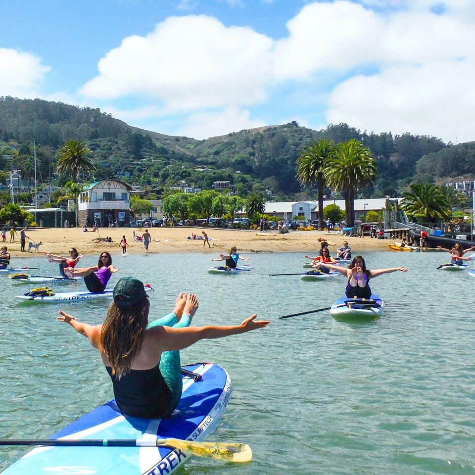 we live sea to street to studio  Our #OKIINO team is 3 active women inspired by #surf, #yoga, #SUP and #adventure.  Here's our Robyn our CEO teaching #SUPyoga with @yogaonboardsup in #saulsalito #SUP #sea #street #studio