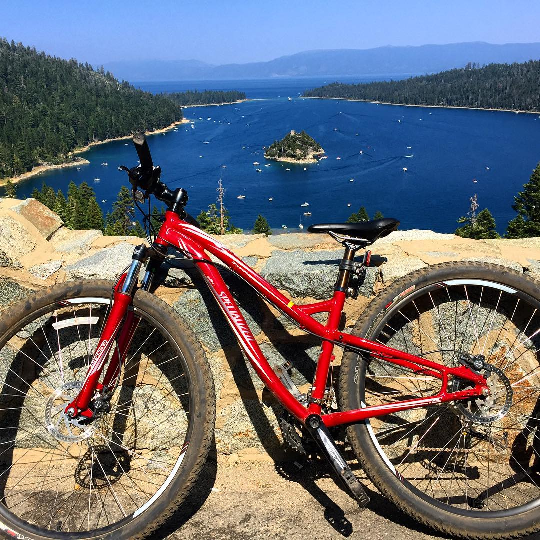 Whelp leave it to me to make a tough ride even harder. Just rode all the way around Lake Tahoe ... on a mountain bike. Painful. Thanks to @mcelberts for being supportive from the Southern Hemisphere and reminding me that pain is weakness leaving the...