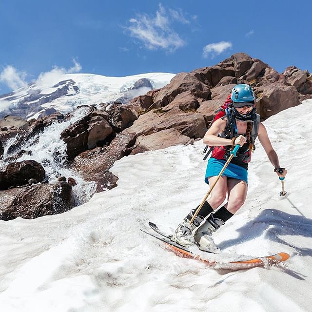 Still not willing to hang up her skis for the summer, Panda's Rachel Delacour skirts the edge of a creek on Washington's Muir Snowfield recently... #TribeUP skirt skiing!  Repost from @racheldelacour  #PandaPoles #PandaTribe